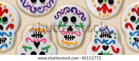 Day of the dead cookie wallpaper, orderly - stock photo