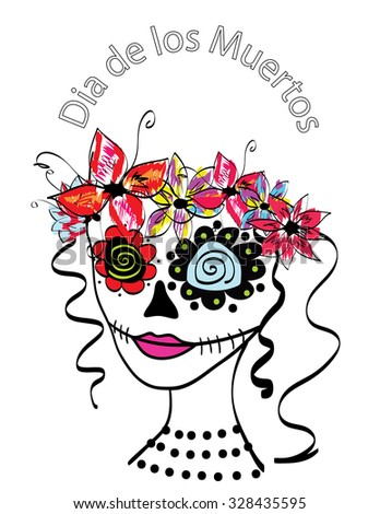 Day of the Dead Dia De Los Muertos girl - stock photo