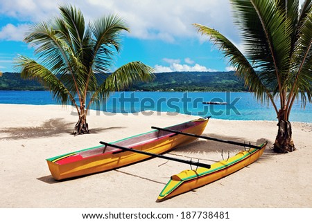 Day on Hideway Island with Efate in the background - stock photo