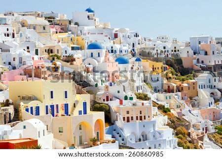 Day panorama of Oia, Santorini - stock photo