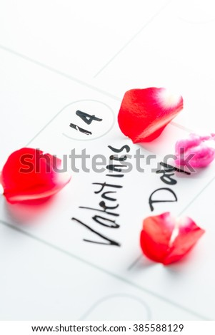 Day planner or calendar with Valentines day marked written on it