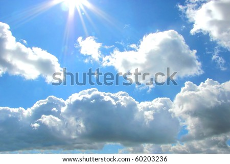 day sky blue nature light cloudscape heaven - stock photo
