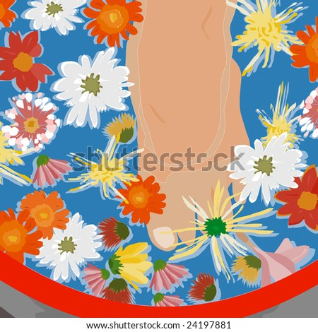 Day spa. Feet soaking in fresh clear water surrounded by spring flowers - stock photo
