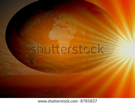 day starting pacific ocean - stock photo