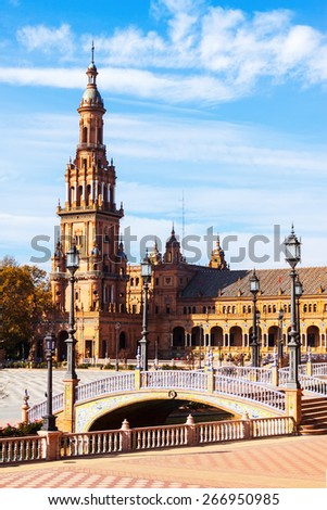 Day sunny view of Plaza de Espana with tower. Seville, Spain
