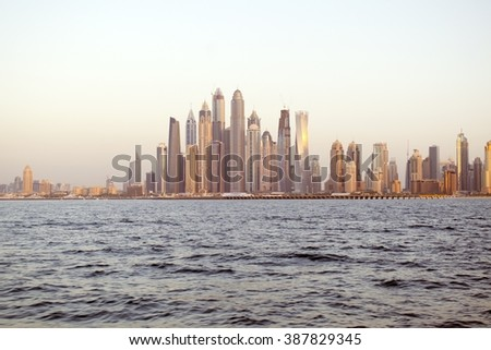 Day time View of Dubai Marina cityscape from the Sea - united arab emirates