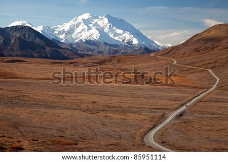 Day Trip in Denali National park in Autumn Alaska North America - stock photo