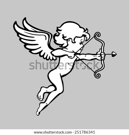 Day valentines. Cupid with wings shooting arrows from a bow with a heart.