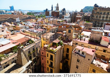 Day view of Barcelona - Barrio Gotico from Santa Maria del mar. Catalonia - stock photo