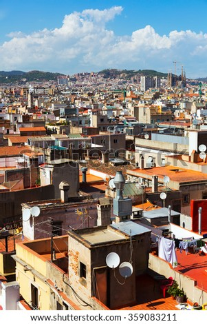 Day view of Barcelona city  from Santa Maria del mar. Catalonia, Spain - stock photo