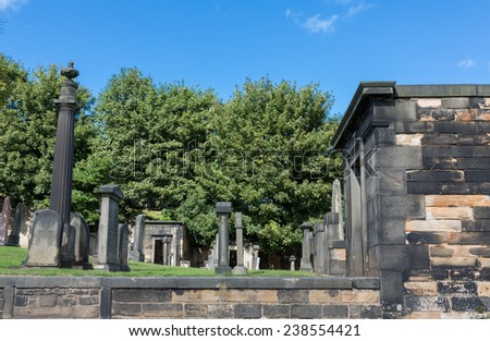 Day view of cemetery in  Edinburgh, Scotland. - stock photo