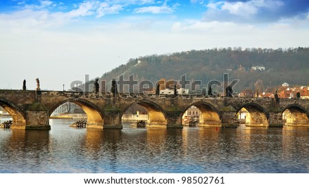 Day view of  Charles bridge. Prague, Czech Republic - stock photo