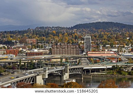 Day view of Portland, Oregon Morrison Bridge and east side city