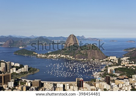 Day view of Sugar Loaf mountain and Botafogo Beach in Rio de Janeiro, Brazil.