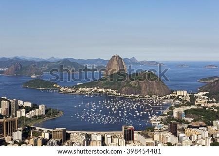 Day view of Sugar Loaf mountain and Botafogo Beach in Rio de Janeiro, Brazil. - stock photo