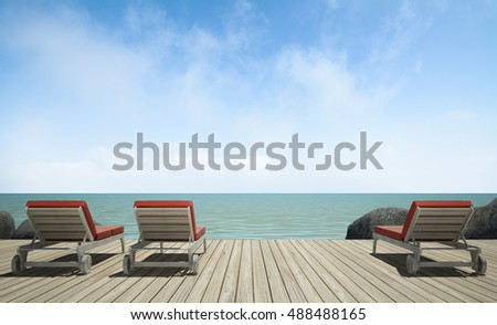 daybed  on  wooden terrace at sea view, 3D rendering image