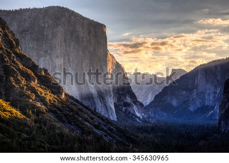 Daybreak El Capitan & Half Dome, Yosemite National Park, California  - stock photo