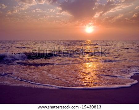Daybreak on a sea. - stock photo