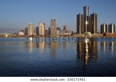 Daybreak on Detroit, November 2015 - stock photo