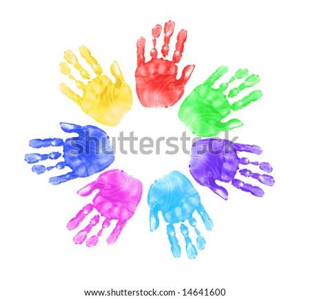 Daycare Preschool Handprints of Children In Multiple Colors - stock photo