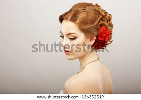 Daydream. Tenderness. Golden Hair Female with Red Flower. Platinum Shine Necklace - stock photo