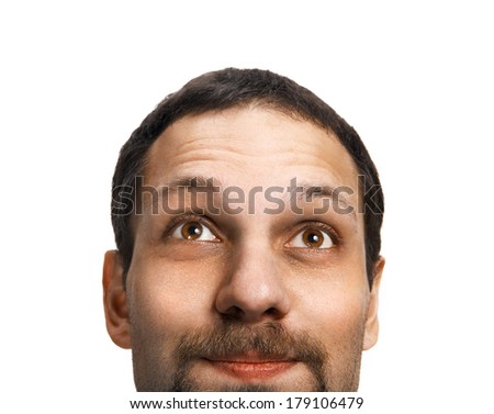 Daydreamer / head of a happy smiling guy dreaming - isolated on white background  - stock photo