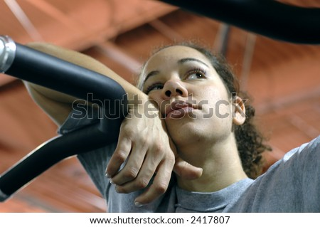 Daydreaming at the gym. - stock photo