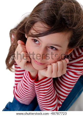 Daydreaming girl on pure white background