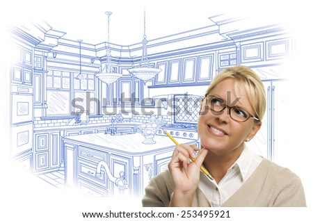 Daydreaming Woman With Pencil Over Custom Kitchen Design Drawing Isolated on White. - stock photo
