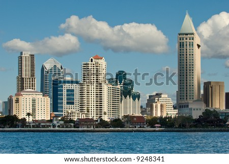 Daylight photograph of the San Diego skyline. - stock photo