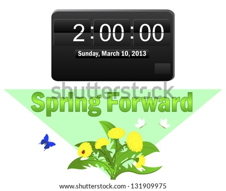 Daylight saving time begins. Icon of an electronic clock; and a pointer Spring Forward. Raster version. - stock photo