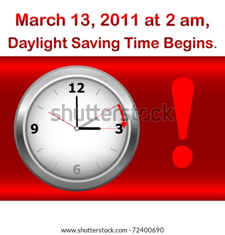 Daylight saving time begins march 13. Icon clock.Similar image in Vector format  in my portfolio. - stock photo