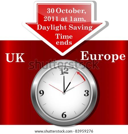 Daylight saving time ends sunday, november 6, 2011 at 2 am. (Europe) - stock photo