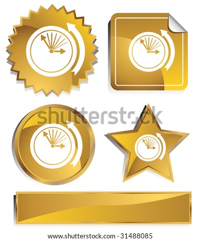 Daylight Savings Time Icon Set : Gold satin metal buttons in star, starburst, circle and sticker, label shapes. - stock photo