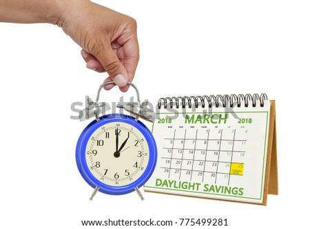Daylight Savings Time March 2018 Calendar Stock Photo (Royalty