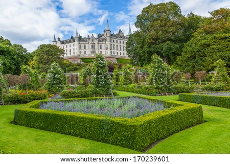 Daylight view of Dunrobin Castle and it's gardens. Scottish Highlands.