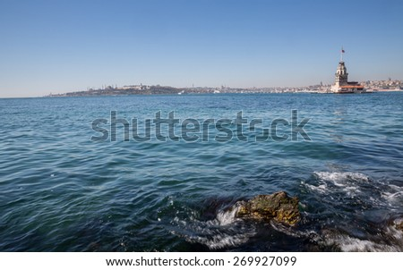 Daylight view of Maiden's Tower in Istanbul, wide angle - stock photo