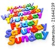 Days of the week formed with colorful letter magnets - stock photo