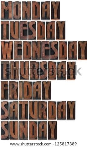 Days of the Week in Printing Blocks Isolated on White Background - stock photo