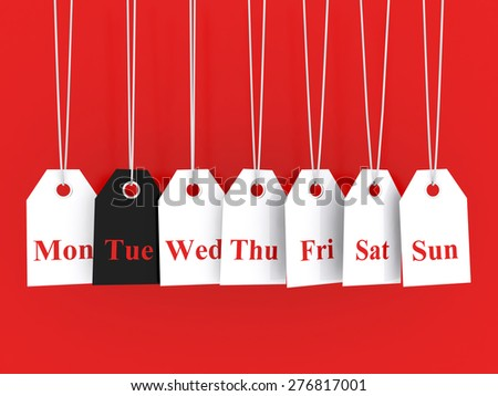 Days of the week symbols and tuesday promotions - stock photo