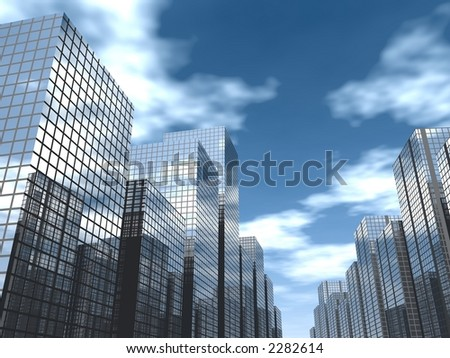 daytime in a modern city - stock photo
