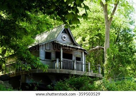daytime of a  tree-house - stock photo