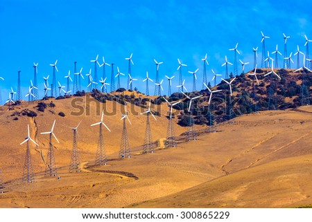 Daytime picture of an Electricity Wind farm - stock photo