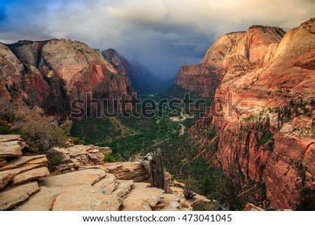 Daytime Storm from Angels Landing, Zion National Park, Utah