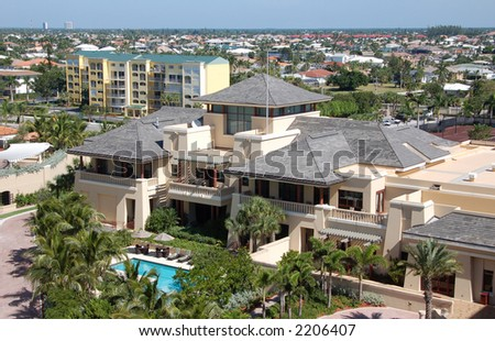 Daytime tropical scene from Florida town - stock photo