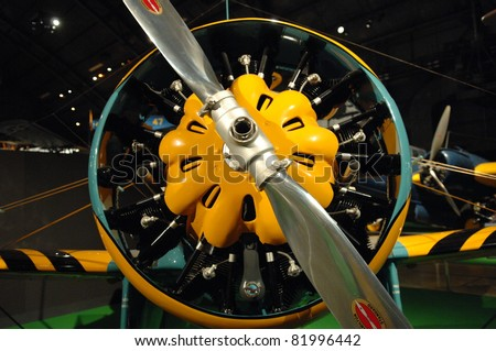 DAYTON OH - 17 JULY: 1930's Air Corps aircraft motor at the National Museum of the Air Force, Wright-Patterson Air Force Base on 17 July 2011 in Dayton, Ohio. - stock photo