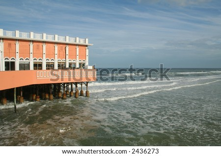 Daytona Beach Boardwalk and Pier - stock photo
