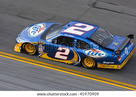 DAYTONA BEACH, FL - FEB. 4: Kurt Busch brings his Miller Dodge on the track for a practice session for the Budweiser Shootout event at the Daytona International Speedway in Daytona Beach, FL on feb.4, 2010. - stock photo