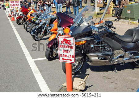 "DAYTONA BEACH, FL -MARCH 6: Free parking for motorcycles only during ""Bike Week 2010"" in Daytona Beach, Florida on March 6, 2010.."
