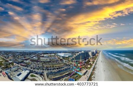 Daytona Beach, Florida. Beautiful aerial view on a sunny day. - stock photo